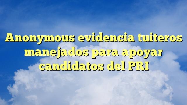Anonymous evidencia tuiteros manejados para apoyar candidatos del PRI